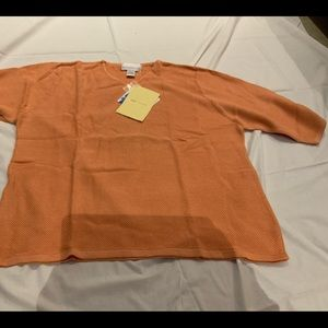 NEW SUSAN GRAVER STYLE CORAL WAFFLE SWEATER SZ 1X